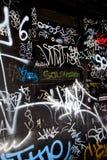 Vandalism Graffiti chaos on Black Van Royalty Free Stock Images