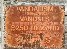 Vandalism warning sign stock images