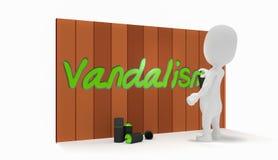 vandalisme della gente 3d sulla parete Fotografie Stock