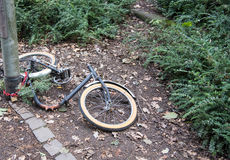 Vandalized  bicycle with stolen parts Stock Images