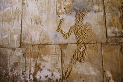 Vandalized Hieroglyphs in Ancient Times - Karnak Temple - Luxor - Egypt Stock Images