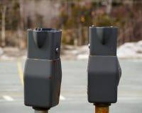 Vandalized parking meter. Damaged parking metes resulting in lost of revenue Royalty Free Stock Image