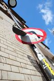 Vandalised Road Sign in Backstreet Manchester stock photography