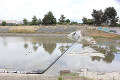 Vandalized Rubber Dam on Alameda Creek Stock Images