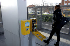 VANDALIZED TICKET STPEM MACHINE. Copenhagen/Denmark/ _ 30th November 2015 _ Unknown peson vandalized ticket stemp machin at Kastrup metro comuter train station ( stock photo