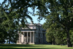 Vanderbilt Mansion. Late afternoon view of the south side  the Vanderbilt Mansion in Hyde Park, NY.  The main entrance on the east side is partially obstructed Royalty Free Stock Photo