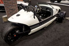 Vanderhall Venice tricycle car at the annual International auto-show, February 9, 2019 in Chicago, IL