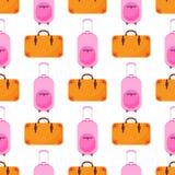 Vandrar hänger löst den sömlösa modellen för loppbagage med plant färgrikt bagage och handväskavektorillustrationen Royaltyfri Foto