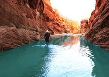 Vandring i kanjon Arkivfoto