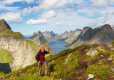 Vandring i Lofoten arkivfoto