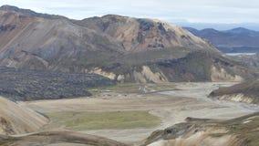 Vandring Skalli - Landmannalaugar, kort trek nära vid Hot Springs royaltyfri bild