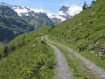 Vandringsled in mot de korkade bergen för snö nära Engelberg, Schweiz Arkivfoton