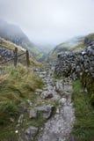 Vandringsled till och med berg i dimmig morgon för höst Arkivbild