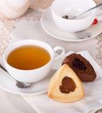 Vanella e biscotti di Hamantash del cioccolato Immagini Stock