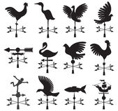 Vanes. Collection Hand drawn set of different weather vanes-vector will be additional Royalty Free Stock Photography