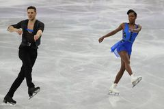 Vanessa James and Morgan Cipres of France perform in the Team Event Pair Skating Short Program at the 2018 Winter Olympic Games. GANGNEUNG, SOUTH KOREA Stock Photography