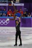 Vanessa James und Morgan Cipres von Frankreich führen im Team Event Pair Skating Short-Programm an der 2018 Winterolympiade durch Stockfoto