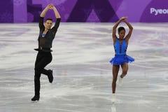 Vanessa James und Morgan Cipres von Frankreich führen im Team Event Pair Skating Short-Programm an der 2018 Winterolympiade durch Lizenzfreie Stockfotografie