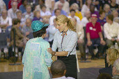 Vanessa Kerry addressing attendee at Kerry campaign rally, Valley View Rec Center, Henderson, NV Stock Photos