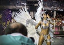 Vanessa Mesquita - Gaviões da Fiel - Carnaval - São Paulo, Brasil 2015. Brazilian model and actress Vanessa Mesquita parading for the samba school Gaviõ stock image