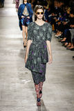 Vanessa Moody walks the runway during the Dries Van Noten show Royalty Free Stock Images
