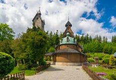 Vang中世纪挪威木教会在卡尔帕奇,更低的西里西亚,波兰 库存图片