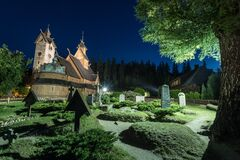 Free Vang Stave Church At Night In Karpacz Poland Royalty Free Stock Photography - 183377737