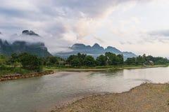 Vang Vieng, Лаос, взгляд, утро Стоковое Изображение RF