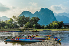 Vang Vieng. Beautifull landscape on the Nam Song River in Vang Vieng, Laos royalty free stock photography