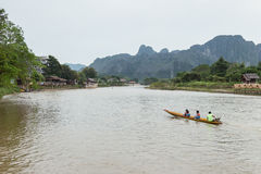 VANG VIENG, LAO P.D.R. - October 24 : Unidentified tourists Royalty Free Stock Photo