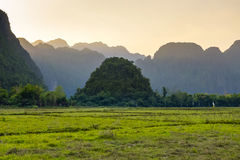 Vang Vieng Laos. Karst landscape at sunset, Vang Vieng, Vientiane Province, Laos stock photos