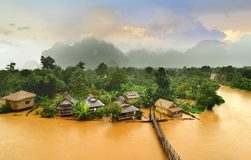 Vang Vieng Laos landmark and wooden brigde Stock Images