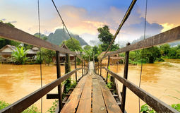 Vang Vieng Laos landmark and wooden brigde Royalty Free Stock Photos