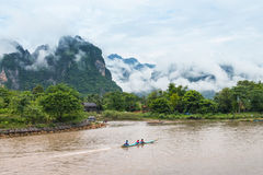 Vang Vieng, Laos. Nam Song river in Vang Vieng, Laos stock photo
