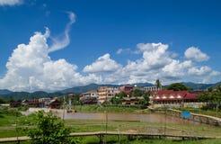 Vang Vieng, Laos. Riverside view of Vang Vieng, Laos Royalty Free Stock Images
