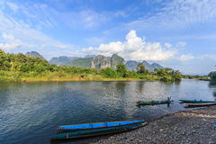 Vang Vieng, Laos. Vang Vieng and song river Laos Royalty Free Stock Photo