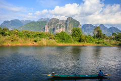Vang Vieng, Laos. Vang Vieng and song river Laos Royalty Free Stock Photos