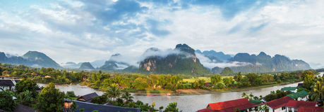 Vang Vieng, Laos. View for panorama in Vang Vieng, Laos royalty free stock images