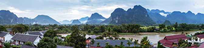 Vang Vieng, Laos. View for panorama in Vang Vieng, Laos Stock Image