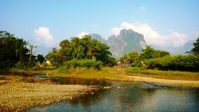 In vang vieng. Morning in vang vieng lao stock photos