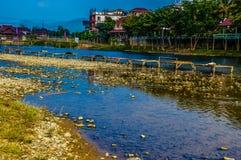 Vang vieng rivier Royalty-vrije Stock Fotografie