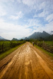 Vang Vieng Road. A dirt road wet from the rain, Vang Vieng, Lao royalty free stock images