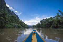 Vang Vieng  Vientiane Laos wooden boat river Stock Images