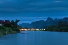 Vang Vieng village, Laos. Nam Song river after sunset, Vang Vieng village, Laos stock photo