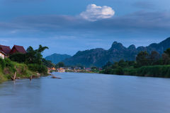 Vang Vieng village, Laos Royalty Free Stock Photos