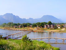 VANG VIENG - Village and mountain Stock Photography