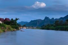 Vang Vieng wioska, Laos Zdjęcia Royalty Free