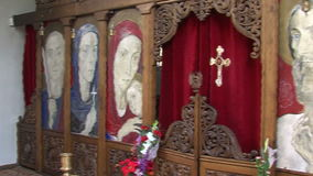 Vanga. The iconostasis in the church of St. Petka in Rupite, Bulgaria stock footage