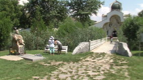 Vanga Monument and the temple of St. Petka in Rupite, Bulgaria stock video footage