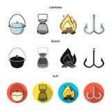 Vangst, haak, netwerk, gietmachine De visserij van vastgestelde inzamelingspictogrammen in beeldverhaal, het zwarte, vlakke Web v stock illustratie